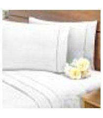 lençol avulso s/ elástico percal 400 fios ponto palito casal branco