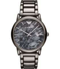 emporio armani men's gunmetal stainless steel bracelet watch 43mm