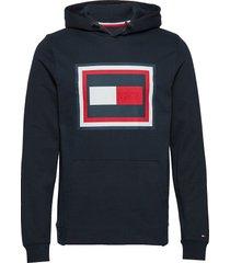 embossed aw hoody hoodie trui blauw tommy hilfiger