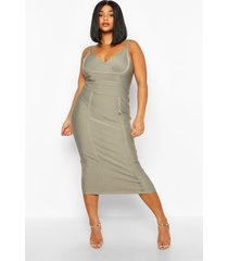 plus sculpting bandage midi dress, taupe