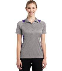 sport-tek lst665 ladies heather colorblock contender polo shirt - vintage heathe