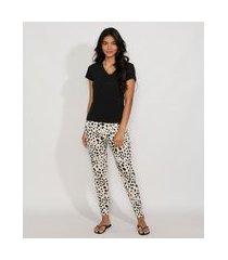 pijama feminino manga curta animal print preto