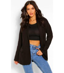 lichtgewicht jas met wollook en kraag, zwart