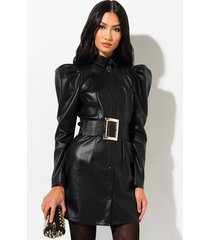 akira so gone vegan leather button down mini dress