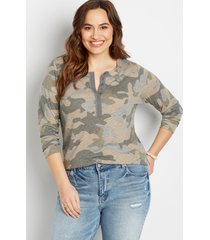 maurices plus size womens 24/7 camo fitted henley long sleeve tee green