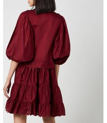 see by chloé women's tie waist shirt dress - smoked red - eu 36/uk 8