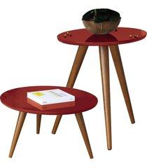 kit mesa lateral com mesa de centro decorativa lyam decor sofia vermelho
