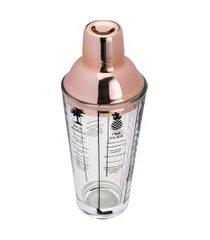 coqueteleira de vidro lyor com tampa de aço inox rosé coimbra 420ml