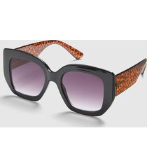lane bryant women's black & leopard print square sunglasses onesz chic leopard