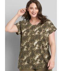 lane bryant women's livi french terry short-sleeve sweatshirt - tie-dye 34/36 black olive