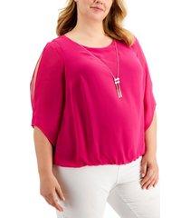 jm collection plus size bubble-hem split-sleeve necklace top, created for macy's
