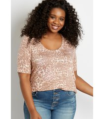 maurices plus size womens 24/7 leopard flawless tee beige