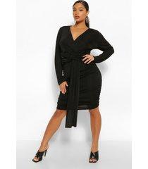 soepelvallende dunne jurk met textuur, zwart