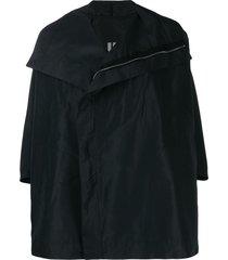 rick owens zip front cape jacket - black