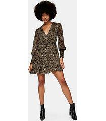 animal print shirred mini wrap dress - true leopard