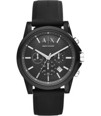 ax armani exchange unisex chronograph black silicone strap watch 44mm ax1326
