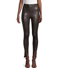 rd style women's front slit faux leather pants - brown - size xs
