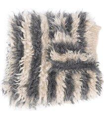 brunello cucinelli striped-print long scarf - grey