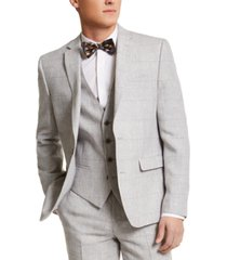 bar iii men's slim-fit gray plaid linen suit separate jacket, created for macy's