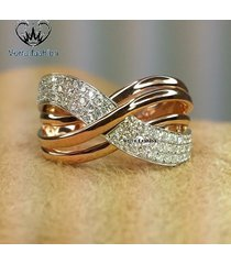 criss cross engagement women's ring round cut diamond 14k gold plated 925 silver