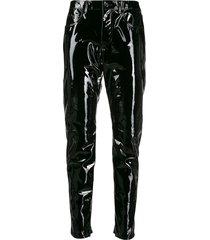 saint laurent patent leather trousers - black
