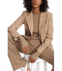 women's rag & bone annie twill blazer, size 4 - beige