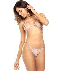 brasier tipo top valentine jessie de la rosa lingerie para mujer - beige