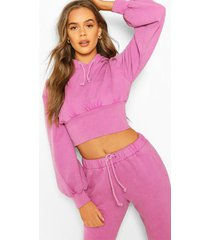 acid wash fitted wasit hoodie, lilac