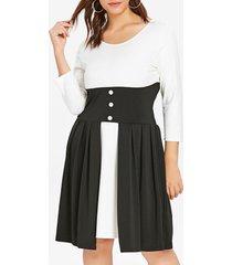 plus size two tone high waist dress