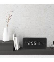 1 unids reloj de alarma digital de madera blanca led reloj-