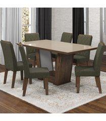 mesa de jantar 6 lugares condessa nogueira/camurça/bronze- viero móveis