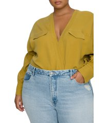 plus size women's good american utility wrap bodysuit, size 7 - green