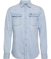 3301 slim shirt ls overhemd casual blauw g-star raw
