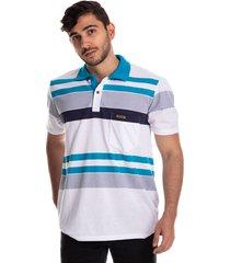 camiseta tipo polo puntazul azul turquesa