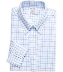brooks brothers men's regent-fit check dress shirt - light blue - size 17 36