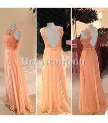 sexy custom high neck lace beads backless chiffon long party/evening/prom dress
