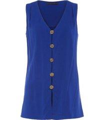 blusa túnica botões rayon nica kessler – azul