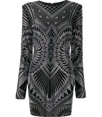 balmain crystal-embellished fitted dress - black