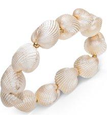 inc gold-tone imitation shell stretch bracelet, created for macy's