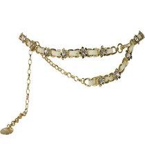 cinturon cadena flor strass beige mailea