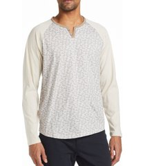 tallia men's slim fit fuzzy print henley t-shirt and a free face mask