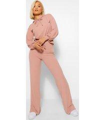 petite gebreide geribbelde hoodie en wide leg broek set, rose