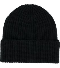 agnona ribbed knit cashmere beanie - black