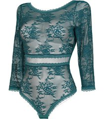 body's lisca driekwart mouwen bodysuit eternity green