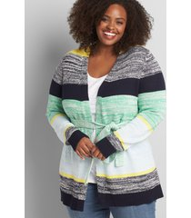 lane bryant women's colorblock striped belted sweater coat 14/16 multi stripe