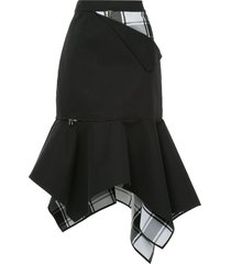 monse peek-a-boo plaid trumpet skirt - blue