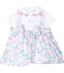 miss blumarine white dress with multicolor press