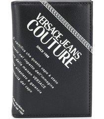 versace jeans couture logo-print wallet - black