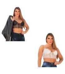 kit 2 peças cropped top blusa feminina renda bojo branco e preto