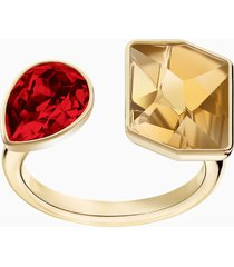 anello prisma, multicolore, placcato oro